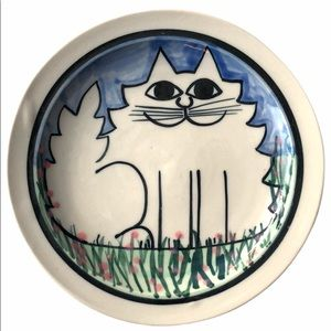 Karen Donleavy Fat White Cat Deluxe Pottery Plate